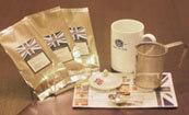 茶こし付きティーマグ(陶器製マグカップ・オリジナルロゴ入り、蓋、茶漉し付)とお勧め茶葉3種のセット ★紅茶入門セット★